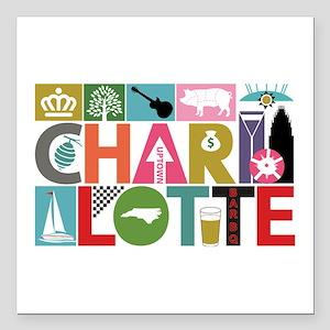 """Unique Charlotte - Block Square Car Magnet 3"""" x 3"""""""