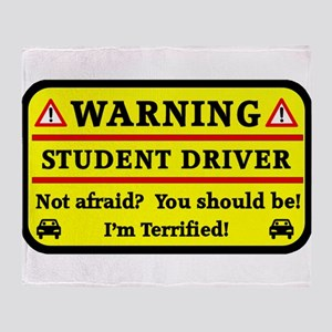 Warning Student Driver Throw Blanket