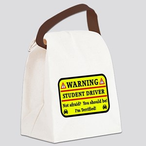 Warning Student Driver Canvas Lunch Bag