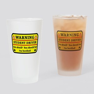 Warning Student Driver Drinking Glass