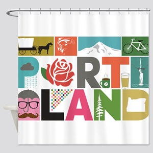 Unique Portland - Block by Block Shower Curtain