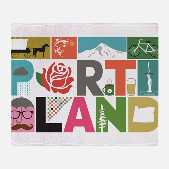 Unique Portland - Block by Block Throw Blanket