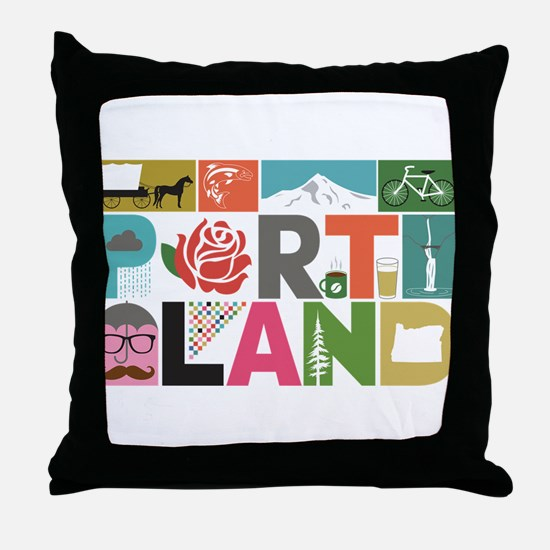 Unique Portland - Block by Block Throw Pillow