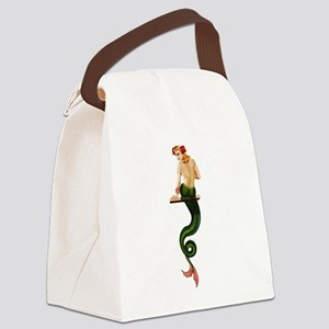 Vintage Pin Up Mermaid ~ Summer Canvas Lunch Bag