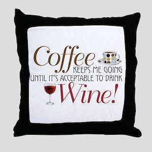 Coffee Wine Throw Pillow