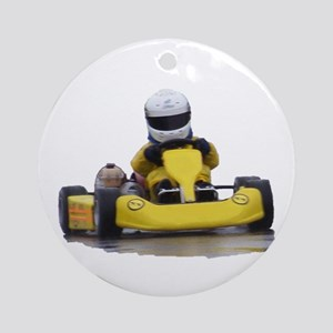 Kart Racing Yellow Kid Kart Round Ornament