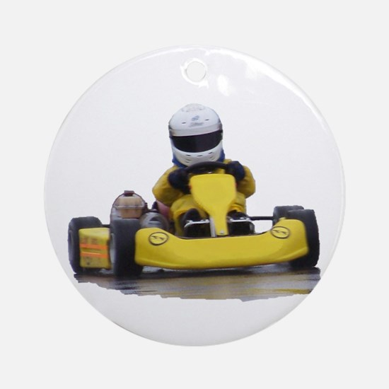Kart Racing Yellow Kid Kart Round Ornament