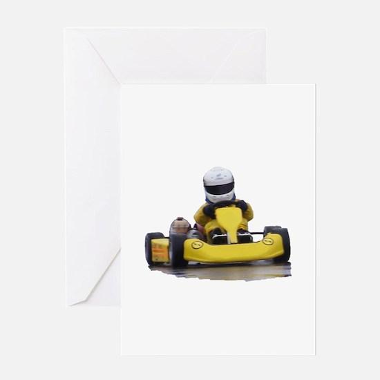 Kart Racing Yellow Kid Kart Greeting Cards