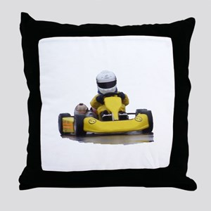 Kart Racing Yellow Kid Kart Throw Pillow