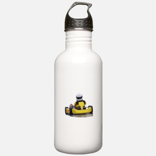 Kart Racing Yellow Kid Kart Water Bottle