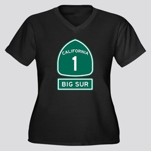 Big Sur Cali Women's Plus Size V-Neck Dark T-Shirt