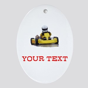 Customizable Yellow Kid Kart Oval Ornament