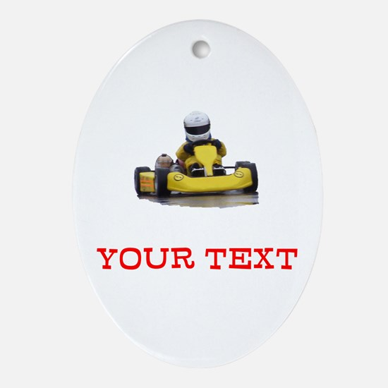 Customizable Yellow Kid Kart Oval Ornament