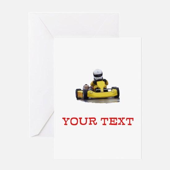 Customizable Yellow Kid Kart Greeting Cards