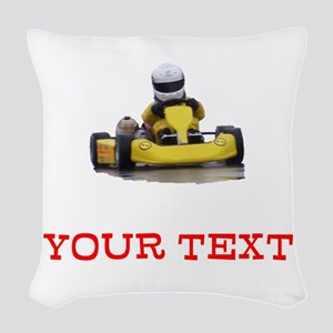 Customizable Yellow Kid Kart Woven Throw Pillow