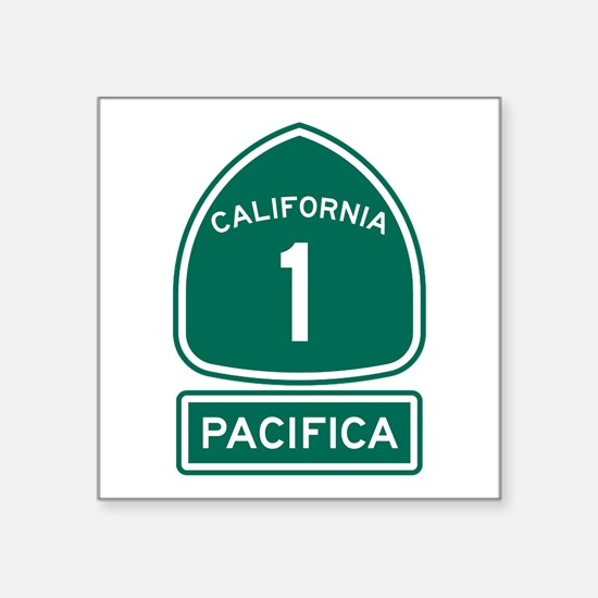 "Pacifica California Square Sticker 3"" x 3"""
