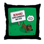 Dangerous Dachshund Throw Pillow