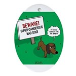 Dangerous Dachshund Oval Ornament