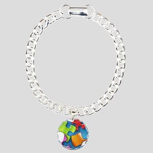 puzzle-v2-5colors Charm Bracelet, One Charm