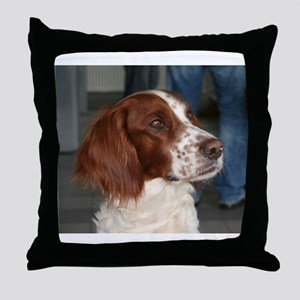 irish red and white setter Throw Pillow
