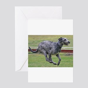 irish wolfhound in motion Greeting Cards