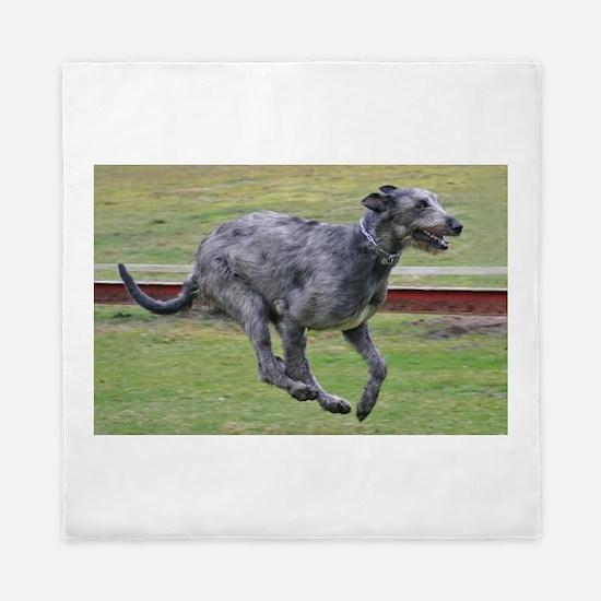 irish wolfhound in motion Queen Duvet