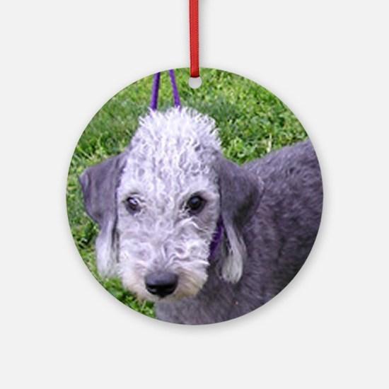 bedlington terrier grey Round Ornament