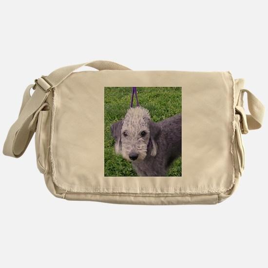 bedlington terrier grey Messenger Bag