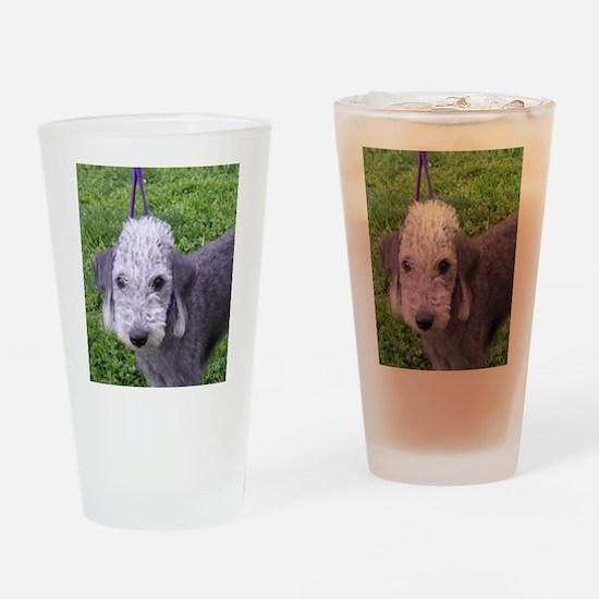 bedlington terrier grey Drinking Glass