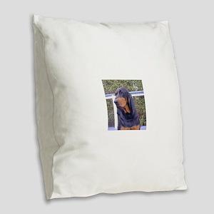 black and tan coonhound Burlap Throw Pillow