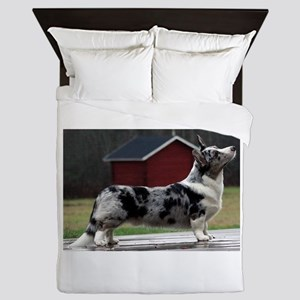 cardigan welsh corgi blue merle full Queen Duvet