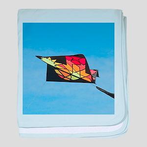 Kite flying in sky 2 baby blanket