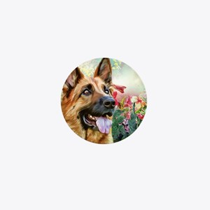 German Shepherd Painting Mini Button