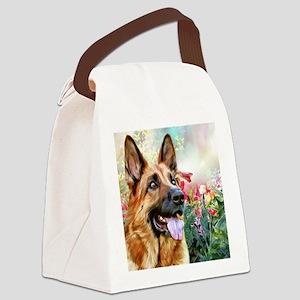 German Shepherd Painting Canvas Lunch Bag