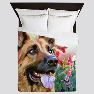 German Shepherd Painting Queen Duvet