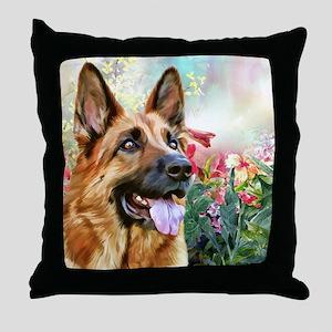 German Shepherd Painting Throw Pillow