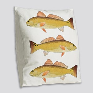 Redfish Red Drum Burlap Throw Pillow