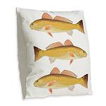 Redfish Red Drum Burlap Throw Pillow