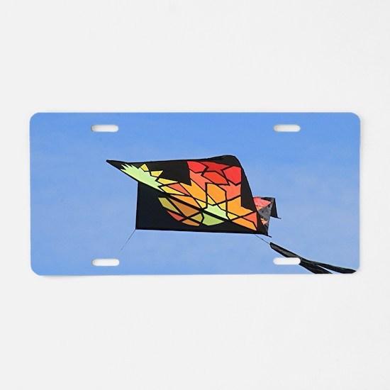 Kite flying in sky 2 Aluminum License Plate
