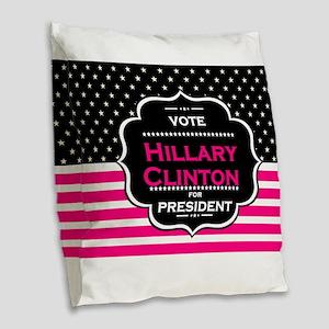 pink hillary clinton Burlap Throw Pillow