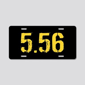 5.56 Ammo: Black & Gold Aluminum License Plate