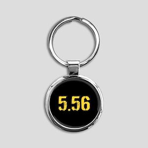 5.56 Ammo: Black & Gold Round Keychain