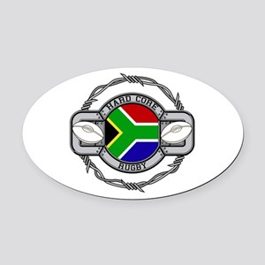 Hard Core South Africa Rugby Oval Car Magnet