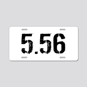 5.56 Ammo: White Aluminum License Plate