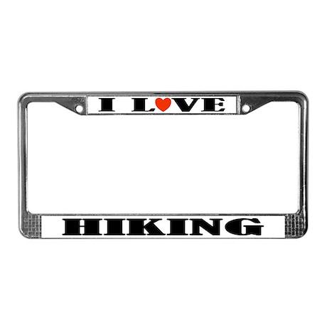 I Love Hiking License Plate Frame
