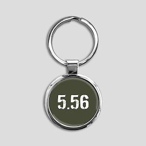 5.56 Ammo: Military Green Round Keychain