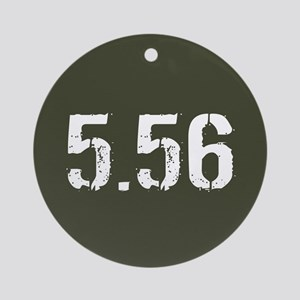 5.56 Ammo: Military Green Round Ornament