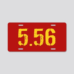 5.56 Ammo: Red & Gold Aluminum License Plate