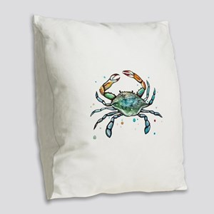 Maryland Blue Crab Burlap Throw Pillow