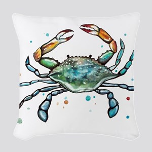 Maryland Blue Crab Woven Throw Pillow